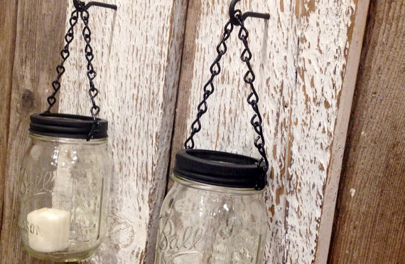 Easy to Make White Barn Wood Mason Jar Candle Holders